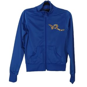 Rocawear Zip Up Sweater Embellished Bright Blue M